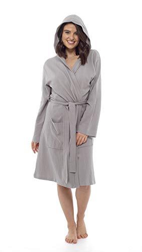 CityComfort Damen Bademantel aus Reiner Baumwolle Damen Waffel Kimono (S, grau Kapuze)