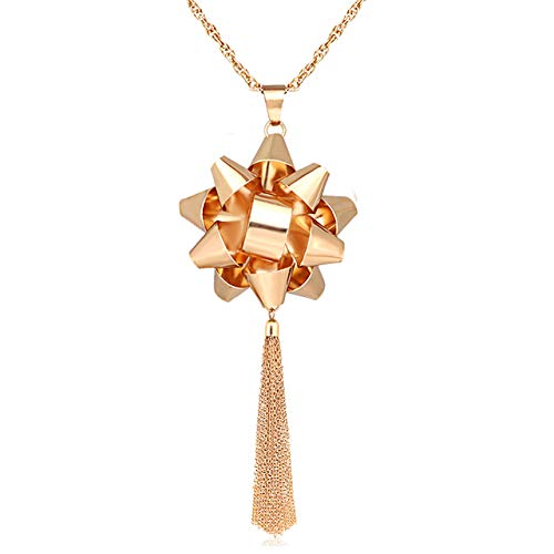 CEALXHENY Christmas Necklace for Women X-Mas Gift Bow Pendant Necklaces Chain Tassel Long Necklaces for Girls (C 1 Bow Gold)