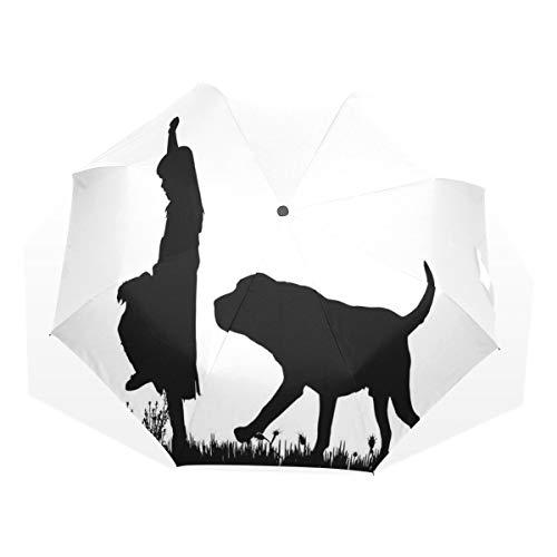 LASINSU Regenschirm,Silhouette eines kleinen Mädchens mit einem Hund, der das Park Haustier Pflege Liebesthema geht,Faltbar Kompakt Sonnenschirm UV Schutz Winddicht Regenschirm