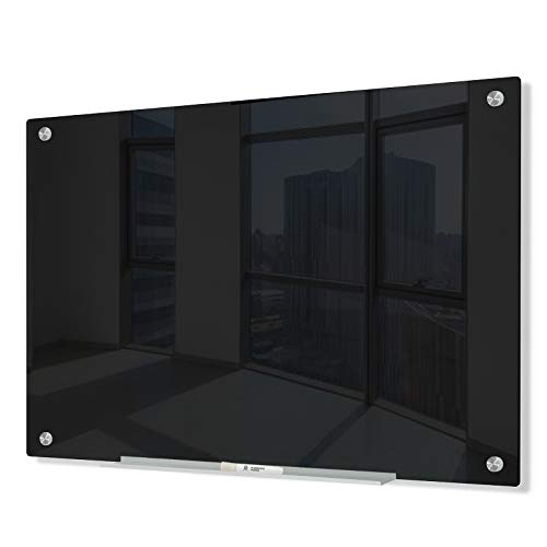 J&J worldwide Glass Whiteboard, Magnetic Black Glass Dry Erase Board 4' x 3', Black Surface, Frameless, Includes Markers, Magnets, Marker Tray, Eraser for Wall, Office, Home, School