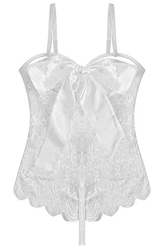 EVELIFE Encaje Lencería Mujer Sexy Transparente Body Lingerie Erótica Ropa Interior Babydoll Teddy (Blanco X-Large)
