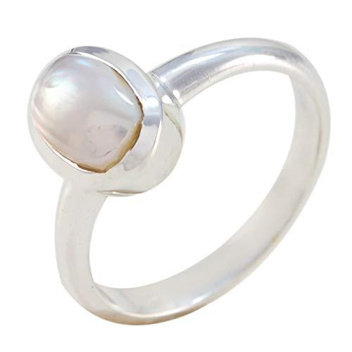 joyas plata bonita piedra preciosa forma ovalada una piedra cabujón anillos de perlas blancas - anillo de perlas blancas blancas de plata 925 - nacimiento de abril aries