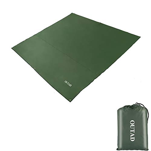 OUTAD Waterproof Camping Tarp Tent Footprint Mutifunctional Groundsheet Picnic and Beach Mat with Drawstring Carrying Bag