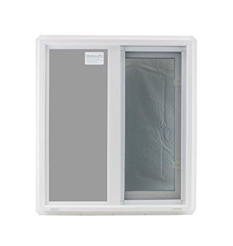 Window 24' x 27' Double Pane Tempered Glass Low-E PVC Frame Horizontal Slider