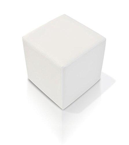 moebel-eins KUBUS Sitzwürfel Bandscheibenhocker Sitzhocker Fußhocker in weiß 35x40x35 cm, Weiss