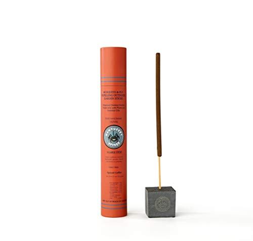 Nantucket Spider Bundle | Garden Repellent Sticks 14 Pack and Incense Stick Holder | Repels Mosquitoes, Wasps & Flies | Long Lasting | Soapstone Block, Handmade Bamboo Based Sticks | Spiced Coffee