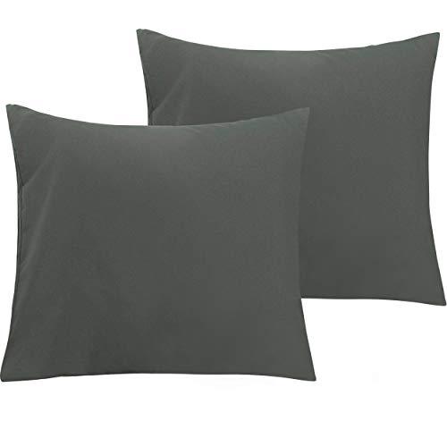 NTBAY 2er Pack Kopfkissenbezüge aus Mikrofaser, Superweicher Premium Kissenbezug mit Reißverschluss, 80x80cm, Dunkelgrau