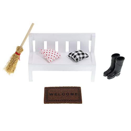 witgift Puppenhaus Zubehör Miniatur Holzbank Miniatur Puppenhaus Gartenmöbel Deko Mini Holzbank Teppichdecke Schuhe Kehrbesen für Puppenhaus Gartengeräte