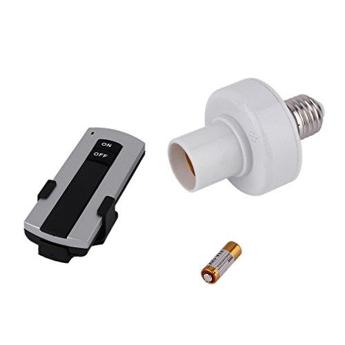 FairytaleMM Professional E27 Tornillo Lámpara de luz de Control Remoto inalámbrico Soporte de Bombilla Bases Tapa Interruptor de Enchufe Accesorios de la lámpara 220V-blanco