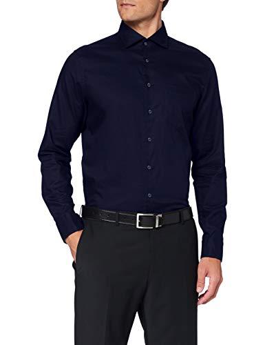 Seidensticker Herren Business Hemd - Bügelleichtes, tailliertes Hemd -Shaped Fit - Langarm - Kent-Kragen - Brusttasche - 100% Baumwolle, Dunkelblau, 43