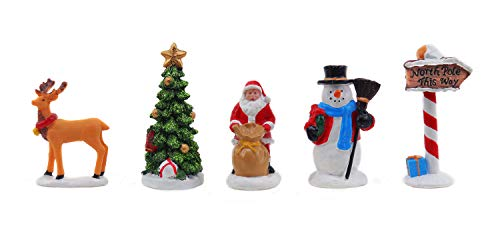Christmas Village Figurines Set of 5 Snow Village Decorations | Santa Claus, Reindeer, Snowman, Christmas Tree & North Pole Sign | Perfect addition to your Christmas Village Collection