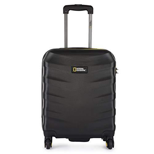 National Geographic Spinner Koffer, 4 Rollen, Zahlenschloss Zoll Gr. S, M, L, dreier Set, Arete Trolley (Black, S 52 cm)