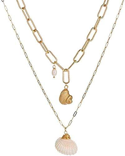 NC110 Collar Gold Starfish Shell Collares Largos Colgantes para Mujer Declaración Conch Cadena Collares Joyas Gargantilla Colgantes Collar Regalo para Mujeres YUAHJIGE