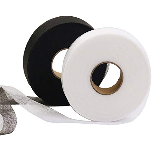 Rolin Roly Fabric Fusing Tape Adhesive Hem White Black Curtains Clothes Dresses Pants Jeans No Sewing Heat Bond Washable Tape Each 70 Yards 2 Pack