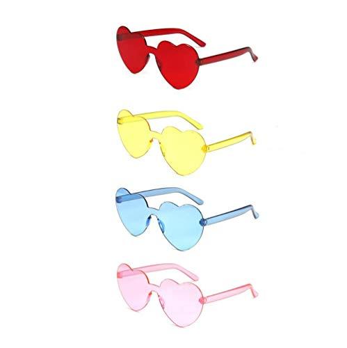 4 gafas de sol transparentes con forma de corazón sin montura color caramelo Mardi Gras verano fiesta playa (rojo, amarillo, rosa azul)