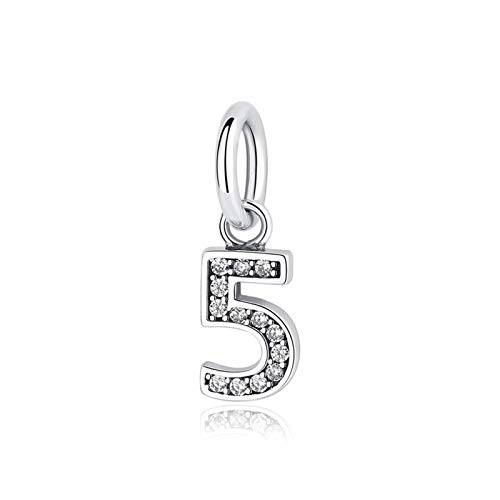 LLZY Original del 100% encantos Sterling Silver Charm Números Cuentas Uno Nueve Colgante caben Las Pulseras Collares DIY joyería de Las Mujeres (Color : 5)