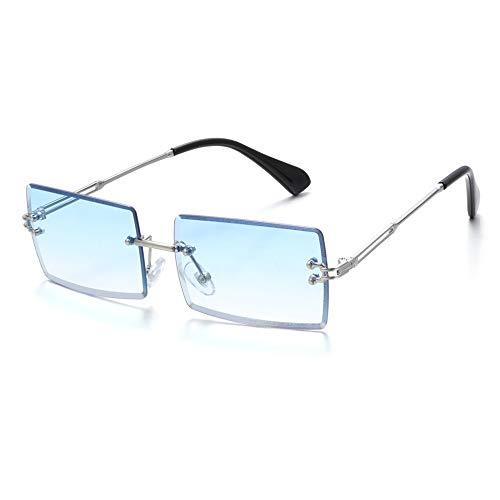 Gafas de sol sin montura de moda pequeñas rectangulares gafas de sol de viaje antirreflectantes UV400 sombras para hombres y mujeres gafas de verano