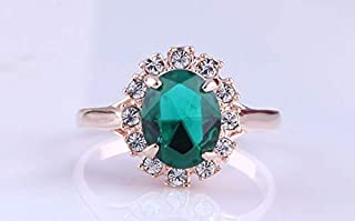 18K Gold plated Emerald color ring with Austrian crystal, size 6