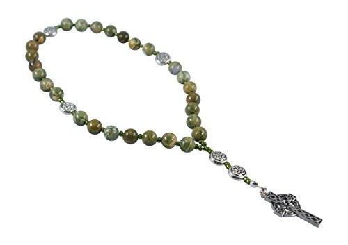 Kit Johnson Designs, Anglican Rosary Beads Rainforest Jasper, Celtic Cross, Prayer Bag, Instruction Booklet