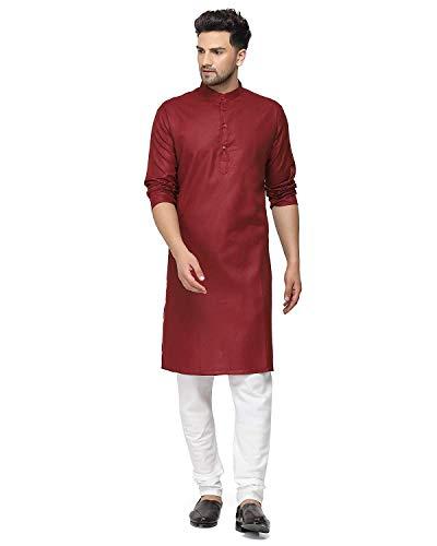 Enmozz® Maroon Cotton Plain Men's Ethnic Simple Kurta Only