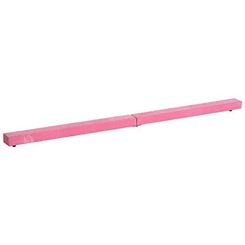 homcom Trave da Ginnastica Equilibrio Allenamento Pieghevole Casa Legno 210 × 10 × 6.5cm Rosa