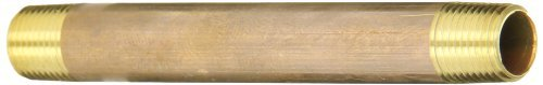 Anderson Metals 38300 Lead Free Red Brass Pipe Fitting, Nipple, 1/8 x 1/8 NPT Male, 3 Length by Anderson Metals
