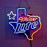 LeeQueen Creative Design Customized Miller Lite Texas Neon Lamp Sign 17inx14in Acrylic Bright Light Bedroom Bar Pub