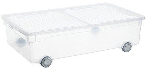 Sundis Cleaar Box Slido Aufbewahrungsbox mit Deckel und Rollen , Kunststoff, transparent, 30 Liter (70,5 x 40 x19,5 cm)