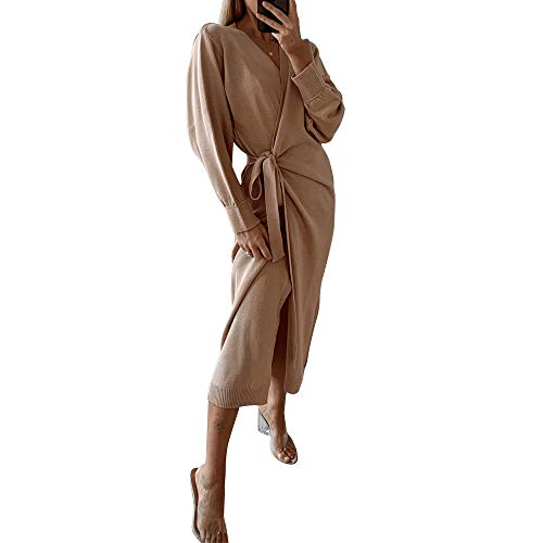 Exlura Womens Knit Sweater Dress Casual Solid Long Sleeve Wrap Maxi Dresses with Belt Camel