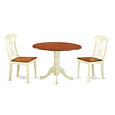 East West Furniture DLKE3-BMK-W 3 Piece Dining Table and 2 Chairs Set