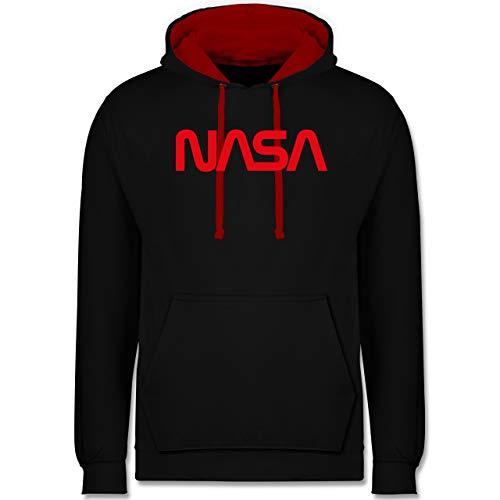 Shirtracer Nerds & Geeks - NASA Worm Motiv - S - Schwarz/Rot - NASA Pullover Jungen - JH003 - Hoodie zweifarbig und Kapuzenpullover für Herren und Damen