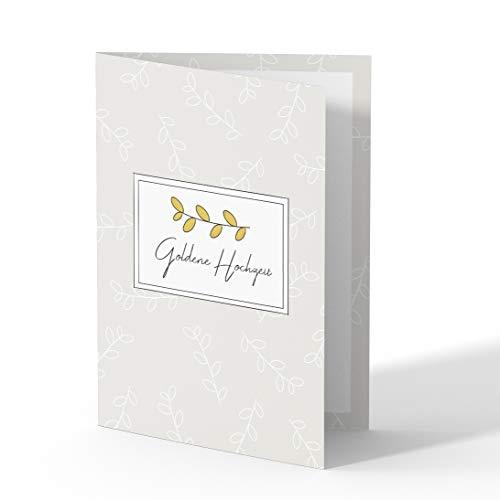 (10 x) Goldene Hochzeit Einladungskarten Goldhochzeit 50 Jahre Einladung - Zweig