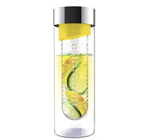 Asobu Bouteille d'eau en verre avec infuseur à fruits, Verre Acrylique Acier inoxydable, Couvercle jaune/argenté., 16OZ / 480ML