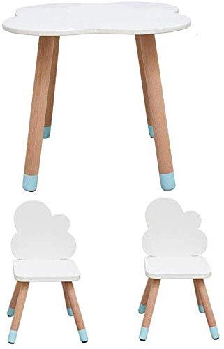 CTC Set tavolo e sedie per bambini, tavolo da attività portatile in legno massello, sala giochi/asilo nido/scuola materna/scuola materna/Sedia Nuvola