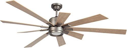 """Katana Dual Mount 72"""" Ceiling Fan with 13 Watts LED Light Kit and Remote and Wall Control, 9 Solid Wood Blades, Antique Nickel - Craftmade KAT72AN9"""