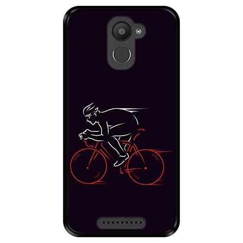 Hapdey Funda Negra para [ Bq Aquaris U Plus ] diseño [ Atleta, Ciclista en Bicicleta ] Carcasa Silicona Flexible TPU