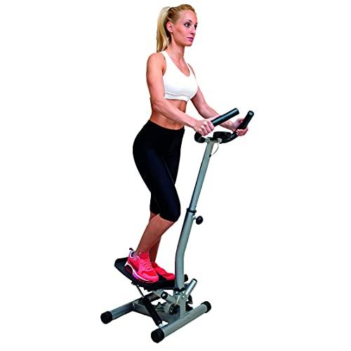 JOCCA - Maquina de Step lateral con barras de sujeción | glúteos, abdomen y piernas | Subir y bajar escaleras | Pies antideslizantes | 4 funciones | Asas acolchadas