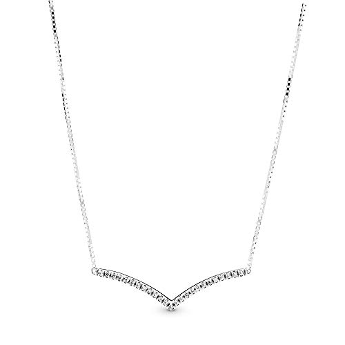 Pandora Jewelry Sparkling Wishbone Cubic Zirconia Necklace in Sterling Silver, 17.7