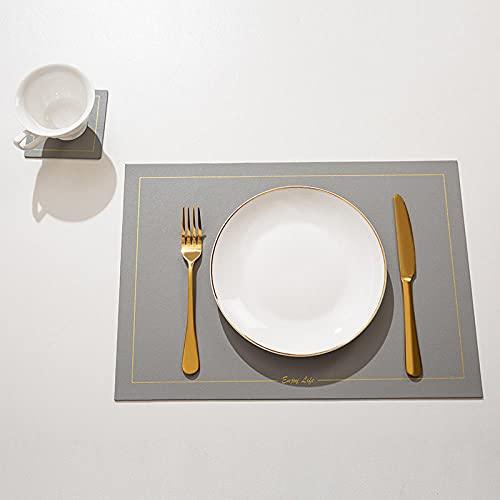 Manteles Individuales Lavables Salvamantele Individuales Antimanchas Antideslizantes Resistente Al Calor Impermeable,para La Mesa De Comedor De Cocina-Gris