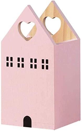 Soporte de lápiz Soporte de pluma de escritorio de madera, pequeña caja de almacenamiento de lápiz en forma de casa, decoraciones lindas de escritorio, familia de lápices de lápiz de gran capacidad fa