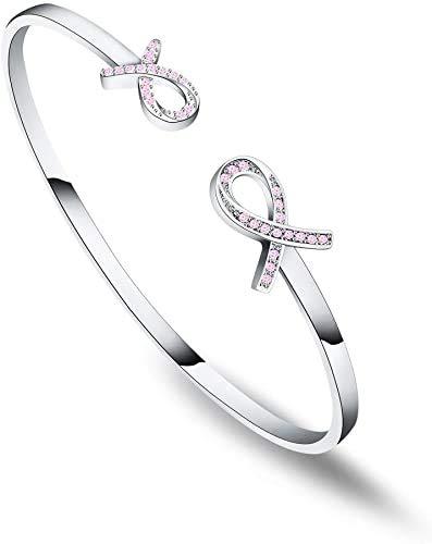 Breast Cancer Gift Breast Cancer Awareness Bracelet Pink Ribbon Bracelet Cancer Survivor Gift for Women (Breast Cancer Bracelet)