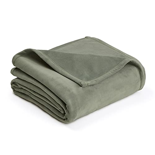 PLUSH BLANKET BY VELLUX - Full/Queen, Heavyweight, Micromink, Warmest, Bedspread, Pet-Friendly, Bed, Bedspread, Winter - Sage