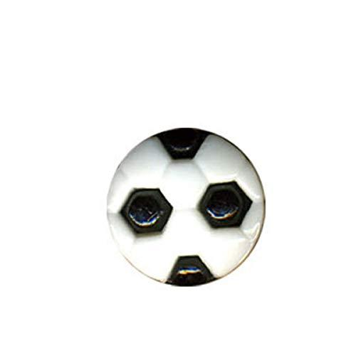 M & C - Set di 6 bottoni a forma di pallone da calcio, colore: nero