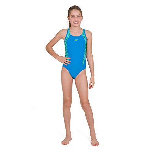 Speedo Girls' Boomstar Splice Flyback Swimsuit, Pool/Fluo Yellow, 30 (11-12 Years)