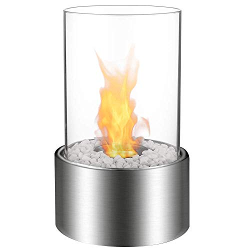 Regal Flame Eden Ventless Tabletop Portable Bio Ethanol Fireplace in Stainless Steel