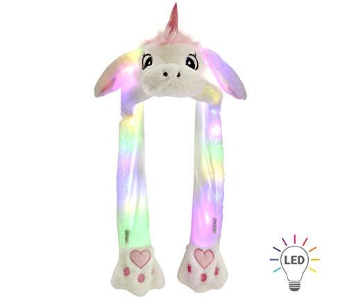 Alsino Wackelohr Mütze mit LED Beleuchtung Einhorn Plüsch Party Verkleidung Tiermütze Partyhut lustig mit beweglichen Ohren für Damen, Weiß