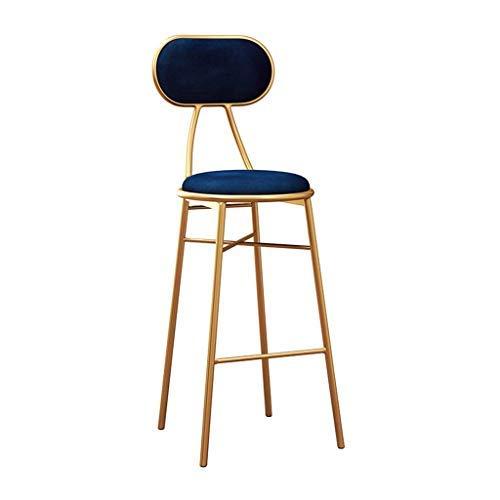 AYU Kitchen Bar Stool,Coffee Kitchen Dining Chair,Blue Velvet Cushion, Gold Metal Legs,Seat Height 25.6inch/27.5inch