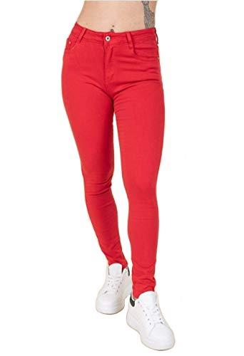 jeans donna farfallina Jeans Miss Sister Rosso farfallina da Donna Elasticizzato Ragazza Morbido Push up Aderente Vita Alta Nuovi arrivi (m)