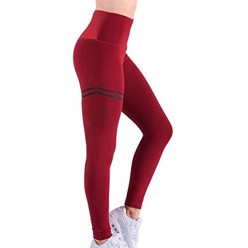 Vrouwen Hoge Taille Anti-Cellulite Compressie Slim Leggings voor Tummy Controle en Hardlopen L Rood
