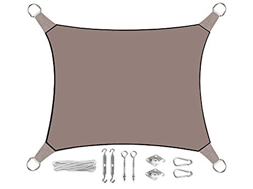 Perel Voile d'ombrage rectangulaire 2 x 3 m Couleur Marron Gris avec œillets Kit de Montage Pratique – Protection Solaire pour Votre Jardin/Balcon.